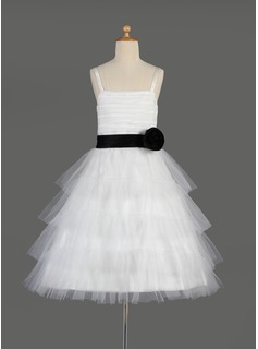 A-Line/Princess Knee-length Flower Girl Dress - Tulle/Charmeuse Sleeveless Square Neckline With Sash (010014635)
