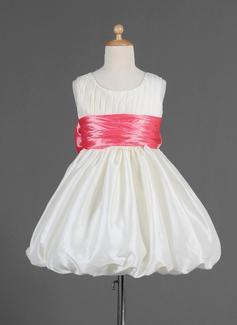 Império Coquetel Vestidos de Menina das Flores - Tafetá Sem magas Decote redondo com Pregueado/Cintos/Curvado (010014665)