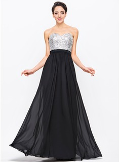 A-Line/Princess Sweetheart Floor-Length Chiffon Sequined Prom Dresses With Beading (018056704)