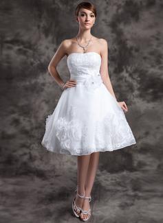 A-Linie/Princess-Linie Herzausschnitt Knielang Organza Brautkleid mit Spitze Perlen verziert Blumen (002024066)