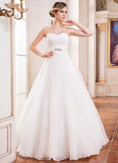Duchesse-Linie Herzausschnitt Bodenlang Organza Satin Brautkleid mit Rüschen Perlen verziert Pailletten (002051625)