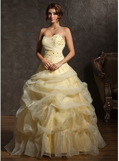 Ball-Gown Sweetheart Floor-Length Organza Quinceanera Dress With Ruffle Beading (021002877)