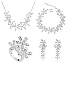 Flower Shaped Platinum Plated/Champaign Gold Plated With Crystal Jewelry Sets (011053764)
