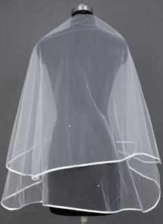 Een-rij Wals Bruids Sluiers met Lint Rand (006039806)