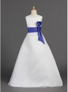 A-Line/Princess Floor-length Flower Girl Dress - Organza/Satin Sleeveless Scoop Neck With Sash (010005810)