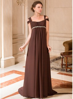 A-Line/Princess Off-the-Shoulder Sweep Train Chiffon Maternity Bridesmaid Dress With Ruffle Beading (045024442)