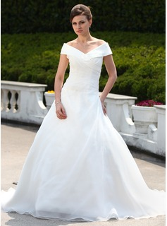 Ball-Gown Off-the-Shoulder Court Train Organza Wedding Dress With Ruffle Beading (002000599)