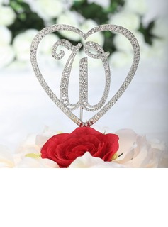 Monogram/Heart Chrome Wedding Cake Topper (119030816)