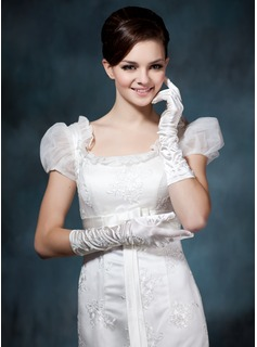Elastic Satin Elbow Length Bridal Gloves (014020476)