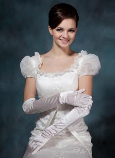 Упругие атласная Опера длина Партии/мода перчатки/Свадебные перчатки (014020511)