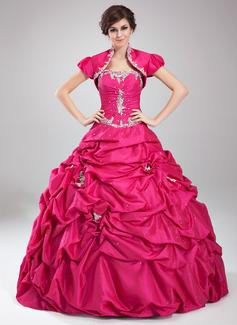 Tanssiaismekot Kullanmuru Lattiaa hipova pituus Tafti Quinceanera mekko jossa Rypytys Helmikuvoinnit Applikaatiot Pitsi Paljetit (021004559)