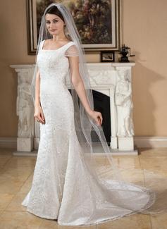 Een-rij Geschulpte Rand Kathedraal Bruids Sluiers (006024549)