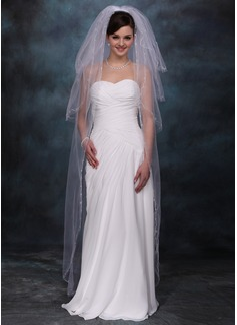Vier-rij Wals Bruids Sluiers met Gesneden Rand (006020355)