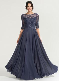 Corte A Decote redondo Longos Tecido de seda Vestido de baile com lantejoulas (018192893)