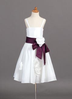Vestidos princesa/ Formato A Comprimento médio Vestidos de Menina das Flores - Tafetá Sem magas alças de ombro com Cintos/fecho de correr (010007370)