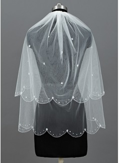 2 couches Voile de mariée longueur coude avec Bord perlé (006052960)