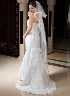 Dos capas Velos de novia capilla con Con Aplicación de encaje (006035799)