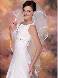 Four-tier Fingertip Bridal Veils With Ribbon Edge (006020343)