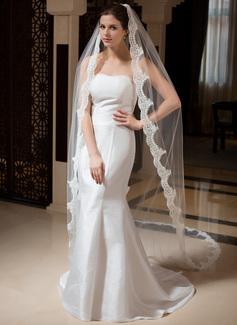 Uma camada Catedral véus de noivas com Borda com aplicação de renda (006035875)
