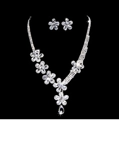 Flower Shaped Alloy/Rhinestones Women's Jewelry Sets (011028345)