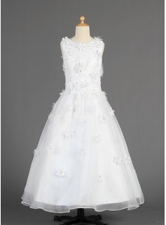 A-Line/Princess Floor-length Flower Girl Dress - Organza Sleeveless Scoop Neck With Lace/Flower(s) (010014616)