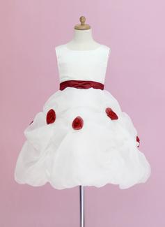 De baile Coquetel Vestidos de Menina das Flores - Organza de/Cetim Sem magas Decote redondo com Pregueado/Cintos/fecho de correr/Escolher acima saia (010005328)