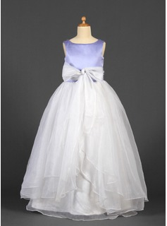 Ball Gown Floor-length Flower Girl Dress - Organza/Satin Sleeveless Scoop Neck With Sash/Bow(s) (010016226)
