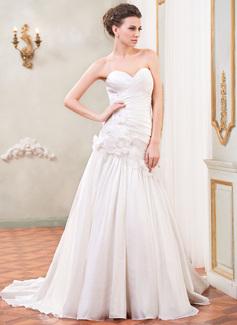A-Linie/Princess-Linie Herzausschnitt Hof-schleppe Taft Brautkleid mit Rüschen Perlen verziert Blumen Pailletten (002031867)