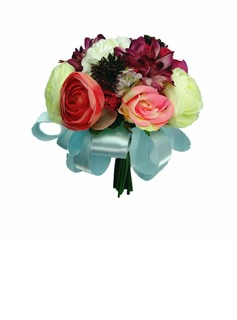 Pretty Hand-tied/Round Satin Bridesmaid Bouquets (123031458)