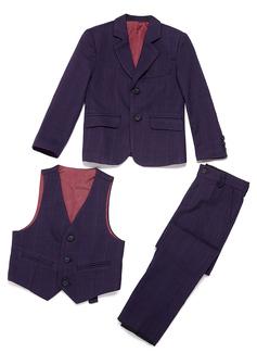 gutter 3 stykker Plaid Suits til ringbærere /Side Boy Suits med Jakke vest Bukser (287199769)