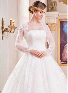 Lange Ärmel Lace Hochzeit Bolero (013055340)