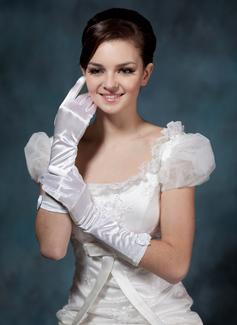 Elastic Satin Elbow Length Bridal Gloves (014020503)