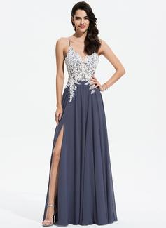 Corte A Decote V Longos Tecido de seda Vestido de festa com Renda Beading lantejoulas Frente aberta (017196067)