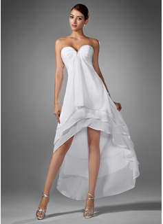 Vestidos princesa/ Formato A Coração Assimétrico De chiffon Vestido de boas vindas com Pregueado Bordado (022003344)