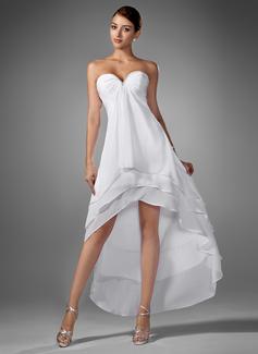 A-Line Sweetheart Asymmetrical Chiffon Homecoming Dress With Ruffle Beading (022003344)
