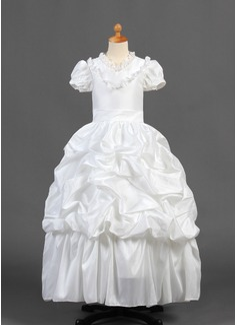 A-formet/Prinsesse Gulvlengde Blomsterpikekjoler - Taft Kortermer V-hals med Frynse/Blonder/Plukk opp skjørtet (010015770)
