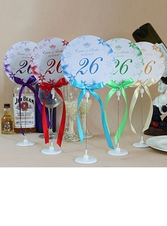 Personalized Floral Design Paper Table Number Cards With Holder With Ribbons (Set of 10) (118032251)