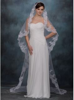 One-tier Cathedral Bridal Veils With Lace Applique Edge (006020339)