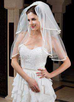Zweischichtig Ellenbogen Braut Schleier mit Band Rand (006035802)