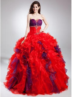 Ball-Gown Sweetheart Floor-Length Organza Quinceanera Dress With Beading Cascading Ruffles (021015885)