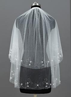 2 couches Voile de mariée longueur coude avec Bord perlé (006052958)