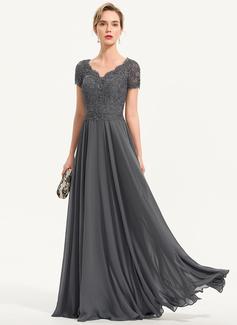 Corte A Decote V Longos Tecido de seda Vestido de festa com Beading (017196741)