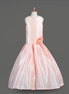 Vestidos princesa/ Formato A Longos Vestidos de Menina das Flores - Tafetá Sem magas Decote redondo com fecho de correr (010014651)