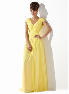 A-Line/Princess V-neck Floor-Length Chiffon Prom Dress With Ruffle Beading (018005580)