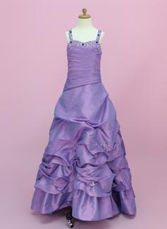 Vestidos princesa/ Formato A Longos Vestidos de Menina das Flores - Tafetá Sem magas Amada com Pregueado/Beading/Escolher acima saia (010002150)