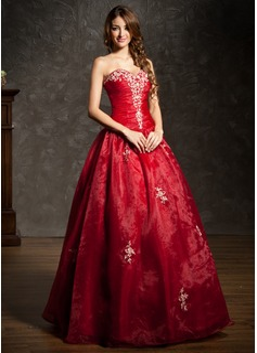 Платье для Балла В виде сердца Длина до пола Органза Пышное платье с Вышито Рябь Бисер (021004600)