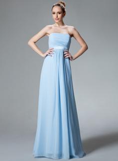 Empire Strapless Floor-Length Chiffon Bridesmaid Dress With Ruffle (007000840)
