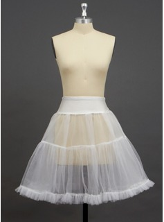 Women Tulle Netting/Spandex Knee-length 2 Tiers Petticoats (037033988)