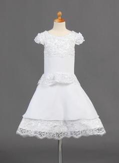 Vestidos princesa/ Formato A Coquetel Vestidos de Menina das Flores - Tecido de seda Manga curta Decote redondo com Renda (010015774)