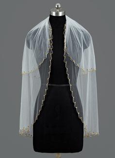 2 couches Voile de mariée longueur coude avec Bord perlé (006052970)